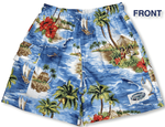 Red Hibiscus Island boy's cargo shorts