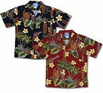 Yellow Plumeria Boy's Ukuleles Surfboards Aloha Shirt