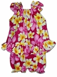Bright Beautiful Plumeria girl's puff sleeve 2pc set