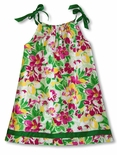 CLOSEOUT Bright Hawaiian Garden Girl's A Line Dress