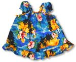 Brilliant Hawaiian Sunset Girl's Puff Sleeve 2pc Set
