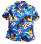 Brilliant Hawaiian Sunset women�s fitted cotton