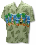 Caribbean Bikini Beer Mens 3X Terivoile Tropical Aloha Shirt