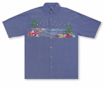 Christmas in Paradise Men's Embroidered Shirt