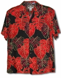 Red Monstera Christmas Leaf Men's Rayon Shirt
