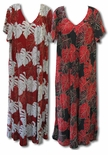 Monstera Leaf Caftan Style V-Neck plus sizes to 4X