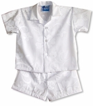 Classic Hibiscus Boy's Wedding White 2 pc Set