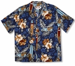 Classic Hibiscus Tiki God Woodie Surfboard Shirt