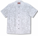 Classic Hibiscus Men's Wedding White Shirt