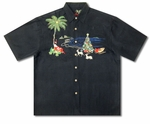 3X Santa on the Beach Embroidered Shirt