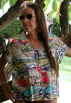 Corvettes RT 66 Hawaiian Aloha Paradise Found 100% Rayon Blouse  - X-Small in Black Only