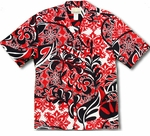 Crazy Hibiscus men's rayon aloha shirt