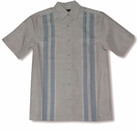 Cubavera Baby Blue Panel Embroidered Linen Rayon Shirt