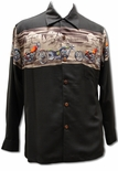 Desert Rider Men's Motorcycle Long Sleeve Hawaiian Shirt