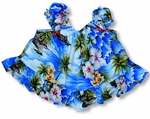 Diamond Head Ocean Waves Girl's Puff Sleeves 2pc Set
