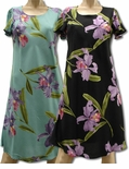 Double Orchid A Line Cap Sleeve Dress