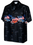Dragster Chest Band USA flag cotton hawaiian shirt