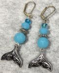 Whale Tail with Turquoise Crystal Beads