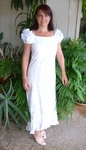 Elegant Tropical White Long Ruffle MuuMuu Dress