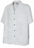 Elegant Tropical White Men's Wedding White Shirt