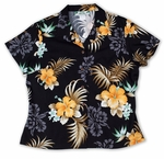 Fern Hibiscus Womens Fitted Blouse