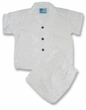 Fern Leaf Garden Boys Wedding White 2pc Set