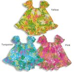 CLOSEOUT festive tropic girl's puff sleeve 2pc set