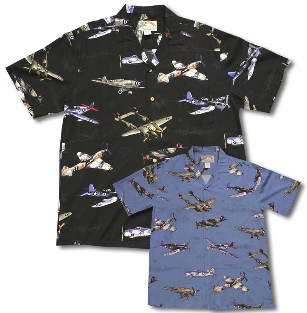 2115160e Fighter Airplanes WWII Men's Rayon