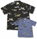 Fighter Airplanes WWII Men's vintage aloha shirt