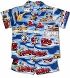 Hawaii Rescue Fire Fighter Trucks boy's cabana set