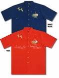 Flying Santa North Pole Men's Embroidered Shirt