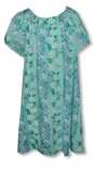 Gardenia Lei Mint-Aquamarine Mu'u Mu'u Size Large Plus 2X Only