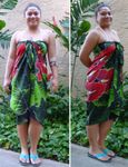 Red Anthurium Hand Painted Sarong Beach, Bathing Suit Cover Up, 100% Rayon