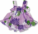 Monstera Plumeria Lei Girl's Ruffle 2pc