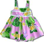 Girl's Yellow Plumeria Ribbon aloha style cabana set