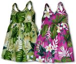 Frangipani Monstera Fern Girl's Bungee Strap Sundress