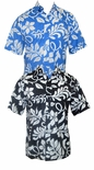 Lanai Reverse Print Placket Front Cotton Aloha Shirt