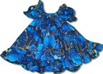 Golden Hibiscus Girl's Puff Sleeves 100% Cotton Aloha Style 2pc (Jumper) Cabana Dress