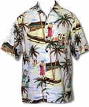 Halau Hula Girl School Men's Fujiette Rayon Aloha Shirt