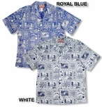 Hawaii State Monarchy men's reverse print open collar shirt