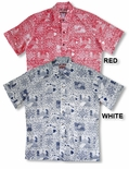 Hawaii State Monarchy men's reverse print cotton aloha shirt