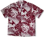 Hawaiian Woodcut Garden men's soft peached cotton shirt