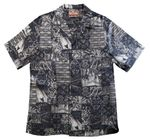 Hawaiian Islands Symbols Reverse cotton Aloha Shirt