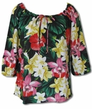 Hawaiian Jungle Flowers Womens Peasant Blouse