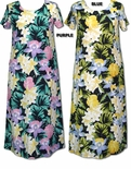 Hawaiian Jungle Flowers Women's Round Neck Long Dress
