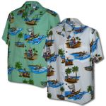 Hawaiian Santa Activities Men's Cotton Shirt