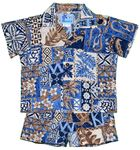 Hawaiian Symbol boy's tropical, polynesian print cabana set