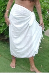 Hawaiian Symbols Wedding White Full Size Terivoile Sarong