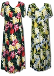Hawaiian Jungle Flowers v-neck plus size evening dress