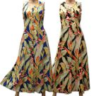 Heliconia button front long length dress